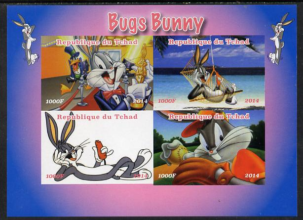 Chad 2014 Bugs Bunny #1 imperf sheetlet containing 4 values unmounted mint. Note this item is privately produced and is offered purely on its thematic appeal. .