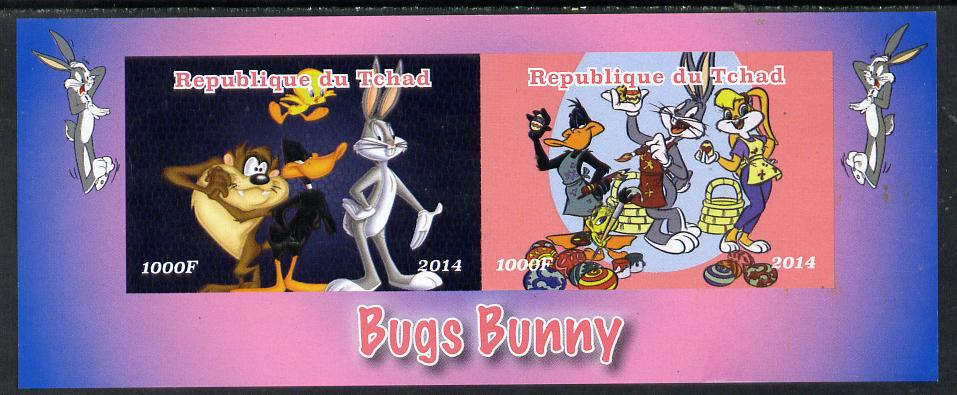 Chad 2014 Bugs Bunny #2 imperf sheetlet containing 2 values unmounted mint. Note this item is privately produced and is offered purely on its thematic appeal. .