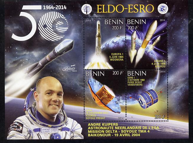 Benin 2014 European Space Research Organisation - Andre Kuipers perf sheetlet containing 4 values unmounted mint