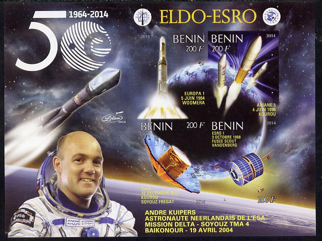 Benin 2014 European Space Research Organisation - Andre Kuipers imperf sheetlet containing 4 values unmounted mint
