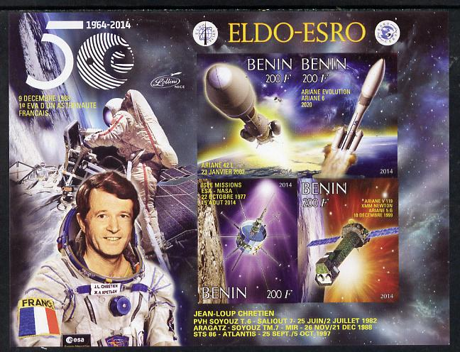 Benin 2014 European Space Research Organisation - Jean-Loup Chretien imperf sheetlet containing 4 values unmounted mint