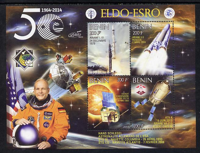 Benin 2014 European Space Research Organisation - Hans Schlegel perf sheetlet containing 4 values unmounted mint