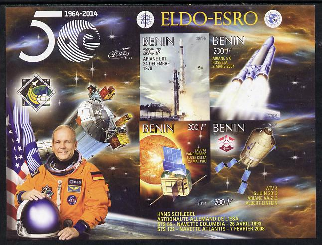 Benin 2014 European Space Research Organisation - Hans Schlegel imperf sheetlet containing 4 values unmounted mint