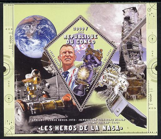Congo 2014 Heroes of NASA - Gene Kranz perf sheetlet containing 4 values unmounted mint