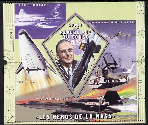 Congo 2014 Heroes of NASA - Hugh Dryden perf sheetlet containing 4 values unmounted mint