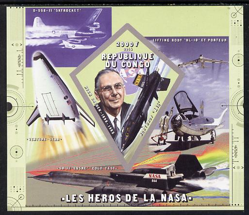 Congo 2014 Heroes of NASA - Hugh Dryden imperf sheetlet containing 4 values unmounted mint