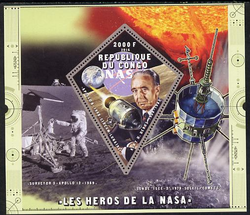Congo 2014 Heroes of NASA - Kurt H Debus perf sheetlet containing 4 values unmounted mint