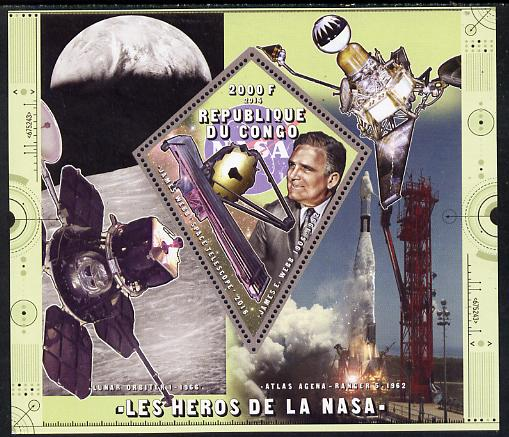 Congo 2014 Heroes of NASA - James E Webb perf sheetlet containing 4 values unmounted mint