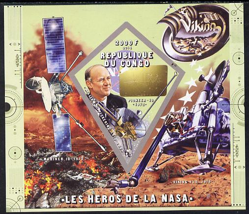 Congo 2014 Heroes of NASA - William H Pickering imperf sheetlet containing 4 values unmounted mint
