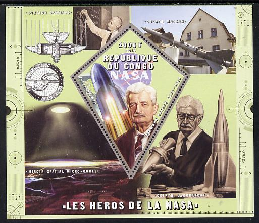 Congo 2014 Heroes of NASA - Hermann Oberth perf sheetlet containing 4 values unmounted mint
