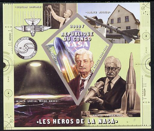 Congo 2014 Heroes of NASA - Hermann Oberth imperf sheetlet containing 4 values unmounted mint