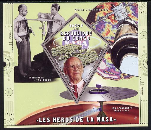 Congo 2014 Heroes of NASA - Ernst Stuhlinger perf sheetlet containing 4 values unmounted mint