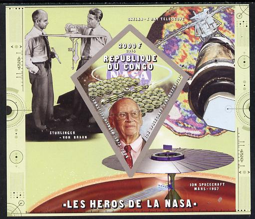 Congo 2014 Heroes of NASA - Ernst Stuhlinger imperf sheetlet containing 4 values unmounted mint