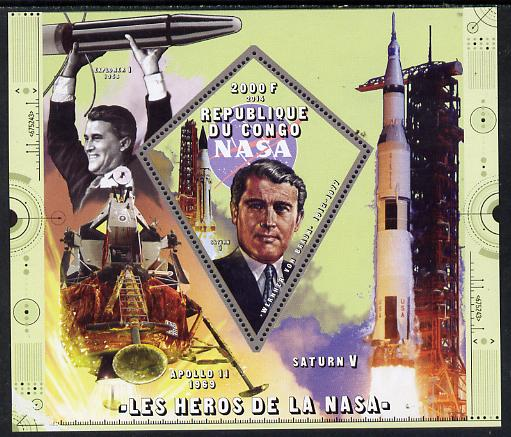 Congo 2014 Heroes of NASA - Werner Von Braun perf sheetlet containing 4 values unmounted mint