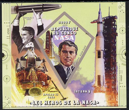 Congo 2014 Heroes of NASA - Werner Von Braun imperf sheetlet containing 4 values unmounted mint