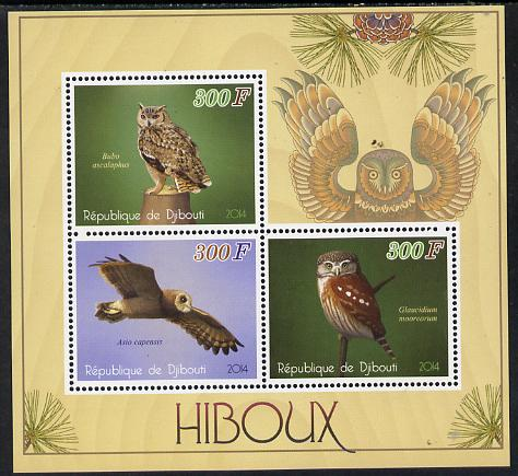 Djibouti 2014 Owls perf sheetlet containing 3 values unmounted mint