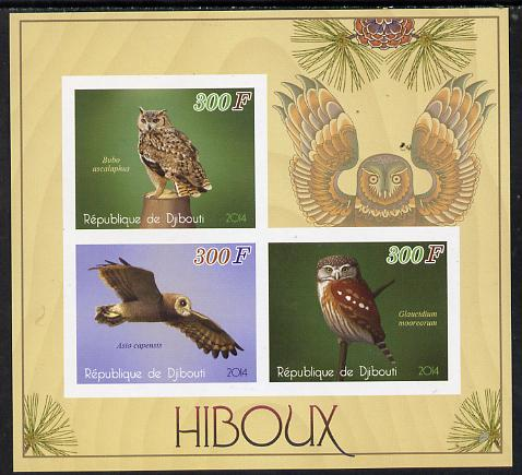 Djibouti 2014 Owls imperf sheetlet containing 3 values unmounted mint