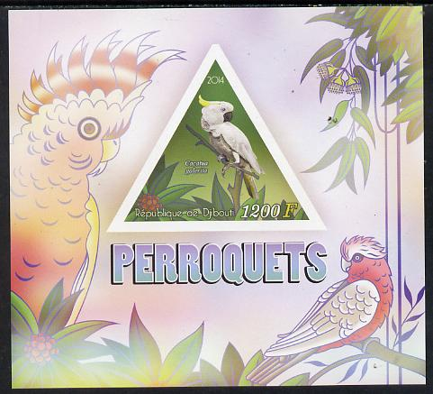 Djibouti 2014 Parrots imperf s/sheet containing one triangular-shaped value unmounted mint