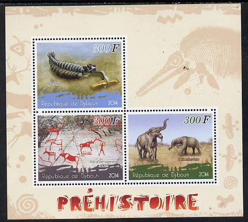 Djibouti 2014 Pre-historic perf sheetlet containing 3 values unmounted mint