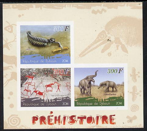 Djibouti 2014 Pre-historic imperf sheetlet containing 3 values unmounted mint