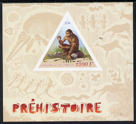 Djibouti 2014 Pre-historic imperf s/sheet containing one triangular-shaped value unmounted mint