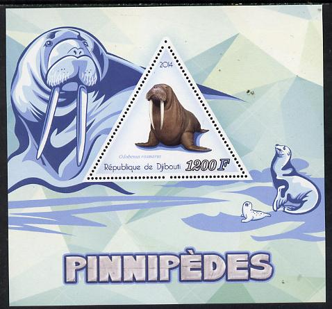 Djibouti 2014 Seals (Walrus) perf s/sheet containing one triangular-shaped value unmounted mint