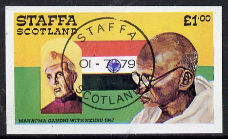 Staffa 1979 Gandhi imperf souvenir sheet cto used (�1 value)