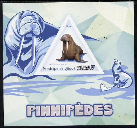 Djibouti 2014 Seals (Walrus) imperf s/sheet containing one triangular-shaped value unmounted mint