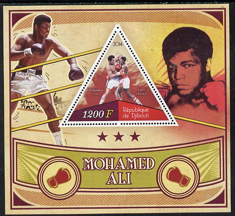 Djibouti 2014 Mohamed Ali perf s/sheet containing one triangular-shaped value unmounted mint