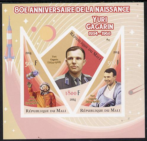 Mali 2014 80th Birth Anniversary of Yuri Gagarin imperf sheetlet containing 3 values (one diamond & two triangular shaped)unmounted mint