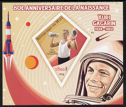 Mali 2014 80th Birth Anniversary of Yuri Gagarin imperf s/sheet containing one diamond-shaped value unmounted mint , stamps on space, stamps on rockets, stamps on satellites, stamps on shaped, stamps on diamond, stamps on gagarin, stamps on personalities
