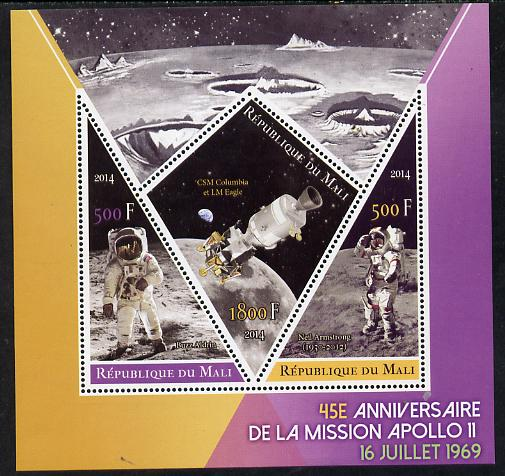 Mali 2014 45th Anniversary of Moon Landing perf sheetlet containing 3 values (one diamond & two triangular shaped)unmounted mint