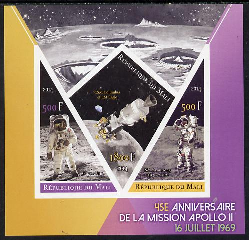 Mali 2014 45th Anniversary of Moon Landing imperf sheetlet containing 3 values (one diamond & two triangular shaped)unmounted mint