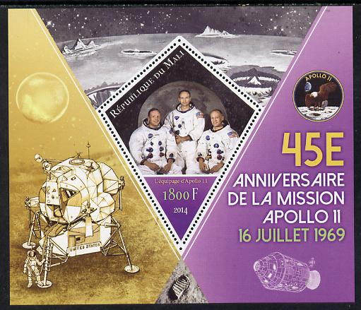 Mali 2014 45th Anniversary of Moon Landing perf s/sheet containing one diamond-shaped value unmounted mint