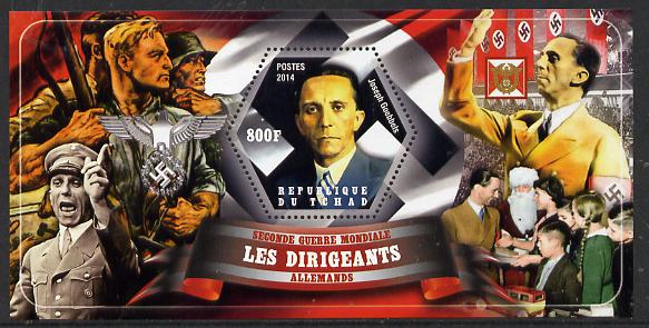 Chad 2014 Leaders in WW2 - Germany - Joseph Goebbels perf s/sheet containing one hexagonal shaped value unmounted mint