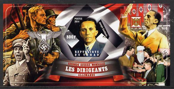 Chad 2014 Leaders in WW2 - Germany - Joseph Goebbels imperf s/sheet containing one hexagonal shaped value unmounted mint