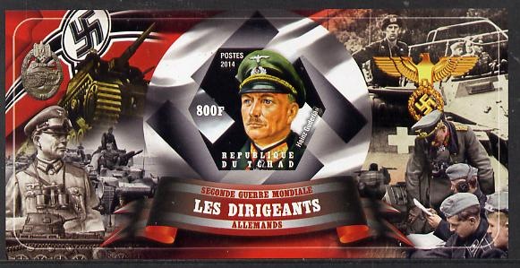 Chad 2014 Leaders in WW2 - Germany - Heinz Guderian imperf s/sheet containing one hexagonal shaped value unmounted mint