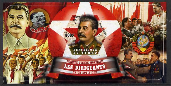 Chad 2014 Leaders in WW2 - USSR - Joseph Stalin imperf s/sheet containing one hexagonal shaped value unmounted mint