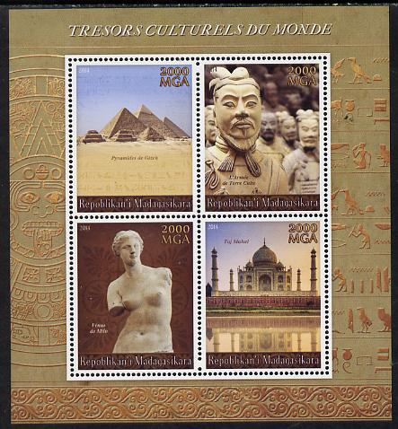 Madagascar 2014 Cultural Treasures of the World perf sheetlet containing 4 values unmounted mint