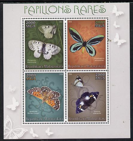 Madagascar 2014 Rare Butterflies perf sheetlet containing 4 values unmounted mint