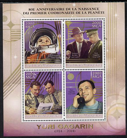 Madagascar 2014 80th Birth Anniversary of Yuri Gagarin perf sheetlet containing 4 values unmounted mint