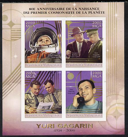 Madagascar 2014 80th Birth Anniversary of Yuri Gagarin imperf sheetlet containing 4 values unmounted mint