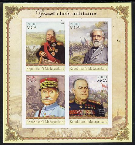 Madagascar 2014 Great Military Leaders imperf sheetlet containing 4 values unmounted mint