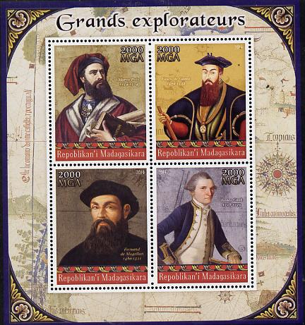 Madagascar 2014 Great Explorers perf sheetlet containing 4 values unmounted mint