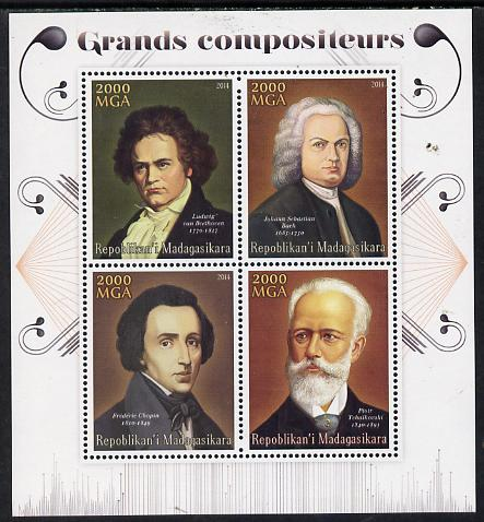 Madagascar 2014 Great Composers perf sheetlet containing 4 values unmounted mint
