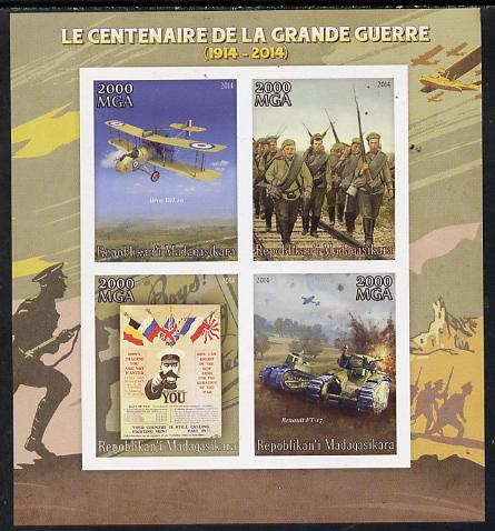 Madagascar 2014 Centenary of Start of First World War imperf sheetlet containing 4 values unmounted mint