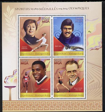 Madagascar 2014 Most Decorated Olympians perf sheetlet containing 4 values unmounted mint