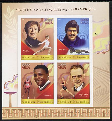 Madagascar 2014 Most Decorated Olympians imperf sheetlet containing 4 values unmounted mint