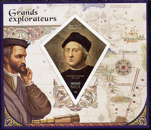 Madagascar 2014 Great Explorers imperf deluxe sheet containing one diamond shaped value unmounted mint