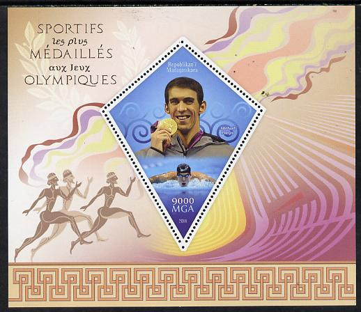 Madagascar 2014 Most Decorated Olympians perf deluxe sheet containing one diamond shaped value unmounted mint